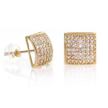14k Gold, Square Dome Shape 9mm Men CZ Stud Earrings With Micro Pave Setting