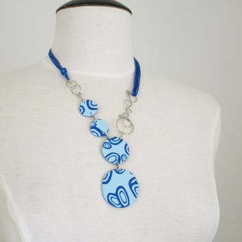 Blue Y Necklace, Polymer Clay Blue Necklace with Circles, OOAK