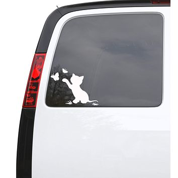 "Auto Car Sticker Decal Kitten Butterflies Cat Pet Animal Truck Laptop Window 6.6"" by 5"" Unique Gift ig3912c"