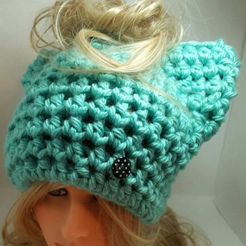 Messy bun PUSSYHATS cat hat Womens Hats winter hat Womens Cancer Headwear Pussyhat project Made by Bead Gs on ETSY.