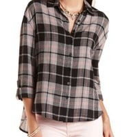 Black Combo Button-Up Plaid Tunic Top by Charlotte Russe