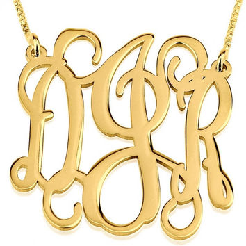 24k Gold Plated XLarge Curly Split Chain Monogram Necklace