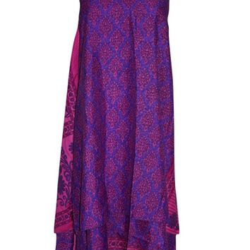 Women's Magic Wrap Skirts purple Reversible Boho Long Silk Sari Beach Dress