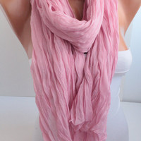 NEW Pink Crinkle Cotton Scarf Solid Color Scarf Fashion Women Accessories