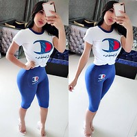 Champion Summer Sexy Woman Casual Print Short Sleeve Top Pants Set Two Piece Blue