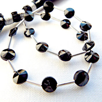 Black Spinel Beads, Faceted Round Spinel, Handcut Black Spinel, Semiprecious Beads, 17 Faceted Spinel Beads, Gemstone Supplies, UK Seller