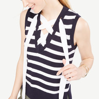Stripe Sleeveless Lace Up Sweater | Ann Taylor