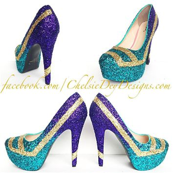 Geometric Ombre Glitter High Heels, Aqua Purple Gold Wedding Shoes