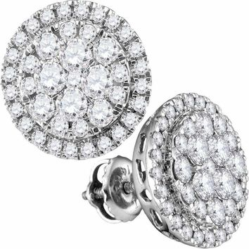 14kt White Gold Women's Round Diamond Flower Cluster Circle Frame Earrings 1.00 Cttw - FREE Shipping (USA/CAN)