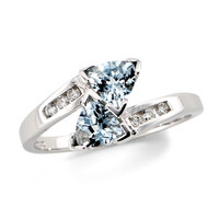 Trilliion Cut Aquamarine Bypass Ring in 10K White Gold with Diamond Accents