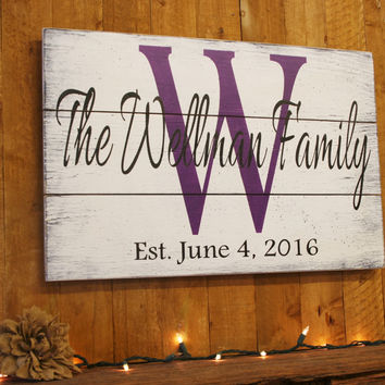 Name Sign Initial Sign Personalized Sign Pallet Sign Wedding Gift Bridal Shower Gift Housewarming Gift Shabby Chic Decor Anniversary Gift