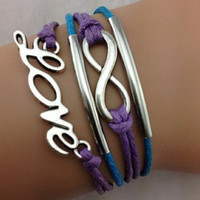 Purple Infinity & Love Bracelet