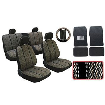 13pc Premium Black & White Baja Inca Weaved Front Rear Car Truck SUV Seat Cover Set, Includes Steering Wheel Covers and Shoulder Pads