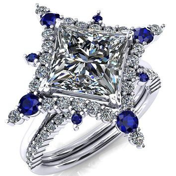 Thalim Princess/Square Moissanite 4-Point Star Blue Sapphire and Diamond Halo Ring
