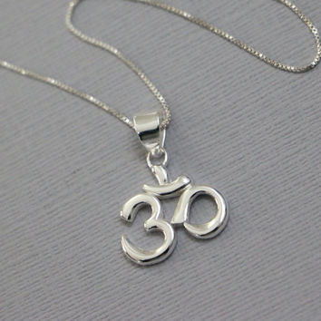 Yoga Necklace,  Sterling Silver Om Pendant on Sterling Silver Necklace Chain