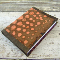 FREE SHIPPING journal, diary, notebook, orange dots on brown
