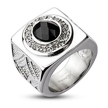Oval Onyx Gem with Clear CZ Dial Wide Cast Ring 316L Stainless Steel