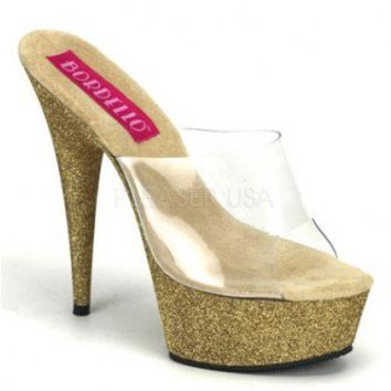 Clear Gold Glitter Slip On Platform Heels @ Amiclubwear Heel Shoes online store sales:Stiletto Heel Shoes,High Heel Pumps,Womens High Heel Shoes,Prom Shoes,Summer Shoes,Spring Shoes,Spool Heel,Womens Dress Shoes,Prom Heels,Prom Pumps,High Heel Sandals,Che