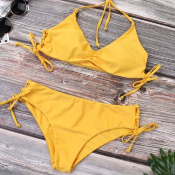 Sexy Straps Split Solid Color Sling Triangle Bikini [1410664497188]