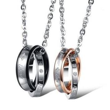 Couple 'forever Love' Double Ring Necklace Lover Promise Necklace One Piece Price