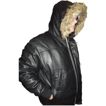 Mens Leather Jacket Black Hooded Puffy Puffer Faux Fur Trim