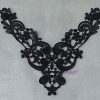 3PCS CHARMING BLACK FABRIC FLOWER VENISE VENICE LACE APPLIQUE SEWING CRAFT