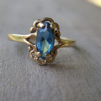 10k Blue Topaz Ring yellow gold December birthstone