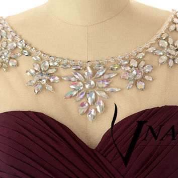 New Arrival Evening Dresses Wedding Party Dresses Cap Sleeve Beaded Unique Design Long Chiffon A Line Crystal Prom Dress 2014