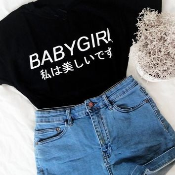 BABYGIRL Japanese shirts letter printed t shirts tumblr t-shirts women fashion clothing Unisex tshirt graphic tees harajuku