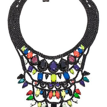 BCBGMAXAZRIA Pop Color Stone Necklace in Black