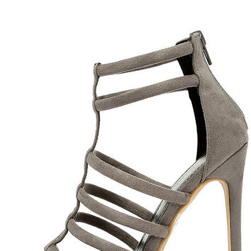 Trend Tracker Grey Suede Caged Heels