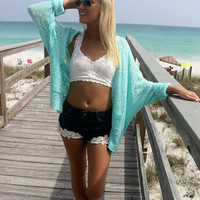 Raglan Beach Open Front Pocket Mint Cardigan