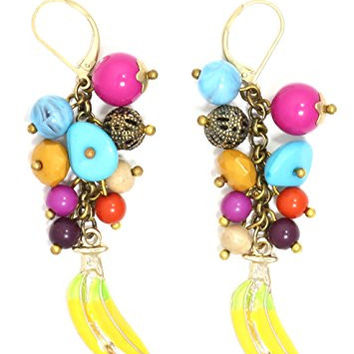Bananas and Beads Dangling Earrings Gold Tone Fruit Charm Drop EI11 Fashion Jewelry