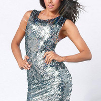 Silver Sleeveless Cross Wrap Back Sequined Bodycon Mini Dress