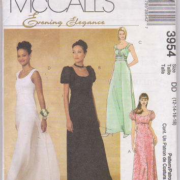 Special occasion floor length dress pattern with empire waist, sleeveless or with short sleeves misses size 12 14 16 18 McCalls 3954 UNCUT