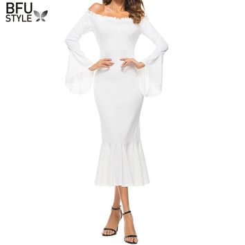 Women Retro Vintage Long Sleeve Maxi White Dresses 2018 Autumn Off Shoulder Renaissance Victorian Gothic Ruffle Medieval Party