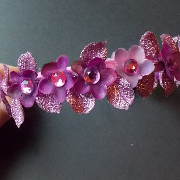 Holiday Sale Pink Fairy Flower Headband Crown with Purple Flowers, Pink Gems, and Sparkly Purple Leaves A10