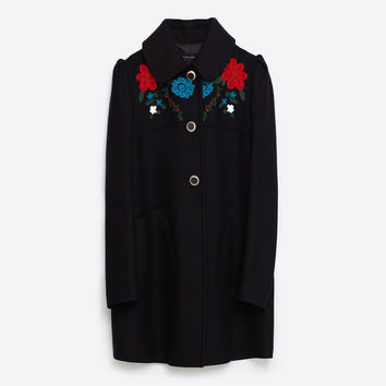 COAT WITH EMBROIDERED YOKE DETAILS
