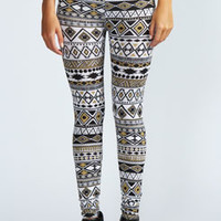 Raziya Metallic Aztec Leggings