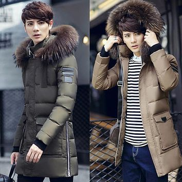 4 Colors Winter Jacket Men 90% White Duck Down Long Section Jackets Keep Warm Coat Thick Warm Casual Hooded Male Jacket Coat