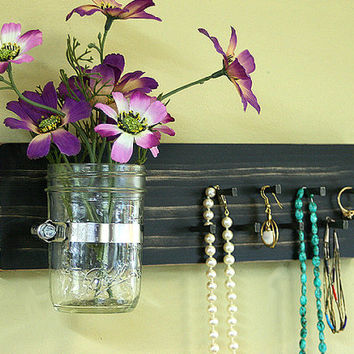 Jewelry Holder Wall Organizer Key Holder Wall Hanging Vintage Black Jewelry Holder Rack Organizer Wall Vase Jar Earrings Necklace Key Rack