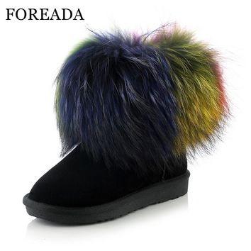 FOREADA Women Snow Boots Genuine Leather Winter Ankle Boots Raccoon Fur Suede Boots Warm Plush Shoes Platform Flats Big Size 43