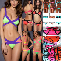 Hot Bandage Bikini Set Push-up Bandeau Padded Bra Swimsuit Bathing Suit Swimwear