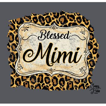 Sassy Frass Blessed Mimi Leopard Front Print Bright Girlie T Shirt