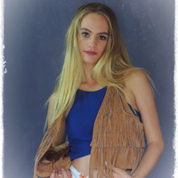 vintage leather fringed vest / southwestern waistcoat jacket in tawny tan suede / cute hippie classic
