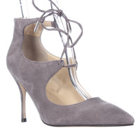 Ivanka Trump Lace Up Pointed Toe Heels - Gray