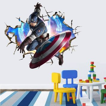 Creative Home Decor 3D Wall Sticker The Avengers Iron Man and Captain Pattern For Kids Room Mural Art Decal Large Size 50*70CM