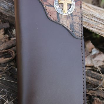 Roper Checkbook Wallet BROWN with REALTREE CAMO corner and Christian Cross