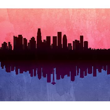 Reiki Charged Los Angeles Skyline Seattle Skyline Tapestry Art Wall Hanging Meditation Yoga Grunge Hippie Wanderlust