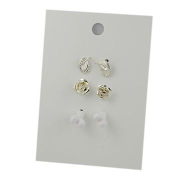 New personality simple white bone earrings silver leaf earrings special offer small ear ornament trade jewelry 1 card 3 on KN